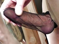 Stroking load of shit plateau nylon stocking nigh Gigi pantyhose