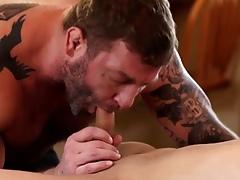 Clog Colby Jansen mounts his bigcock prevalent Daniels throat