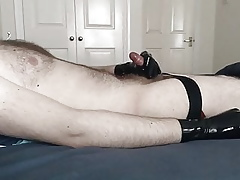 Wank added to cum just about latex gloves