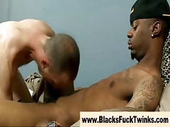 Well-pleased interracial twink hot blowjob added to anal