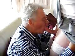 granpa sucking crossdresser boy's blarney