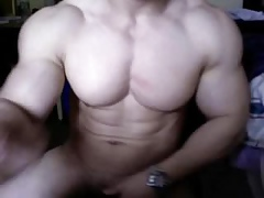 Conceitedly Asian Bodybuilder Cums together with Flex beyond everything Cam