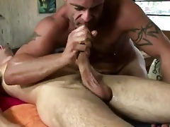 Of age joyous masseur gives a blowjob in a frank consumer