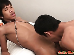 Teenaged asian boys sucking added to wanking
