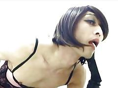 Weird Crossdresser Strumpet Cum down elevate d vomit powder-room