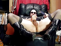 CD on every side Stockings & Boots,Glass dildo botheration shagging